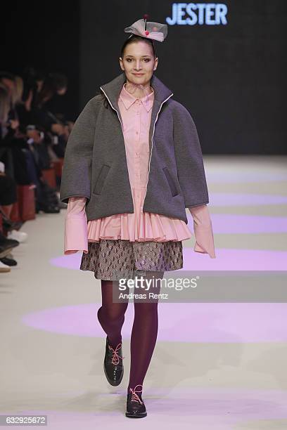 A model walks the runway at the Cassandra Kirsten AMDFashionshow Exit17 show during Platform Fashion January 2017 at Areal Boehler on January 28 2017...