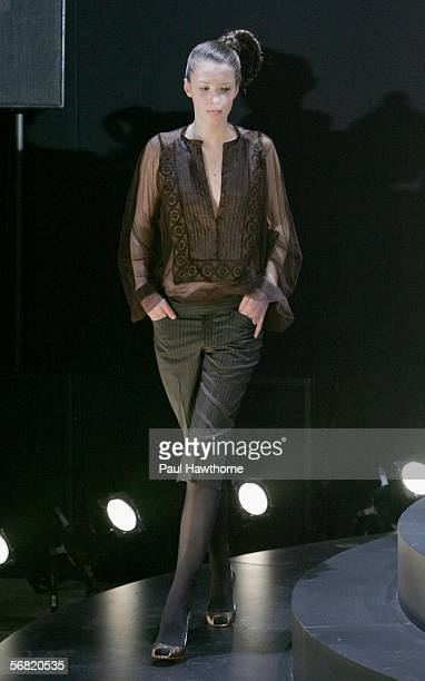 A model walks the runway at the Catherine Malandrino Fall 2006 fashion show during Olympus Fashion Week at Roseland Ballroom February 10 2006 in New...