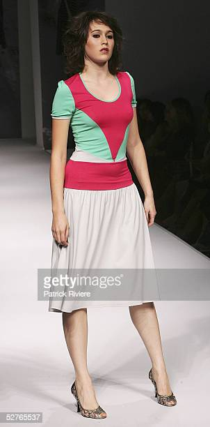 Model walks the runway at the Catherine Maple-Brown collection presentation part of the Sydney Tafe Fashion Design Studio at the Overseas Passenger...