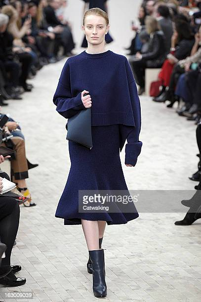 Model walks the runway at the Celine Autumn Winter 2013 fashion show during Paris Fashion Week on March 3, 2013 in Paris, France.
