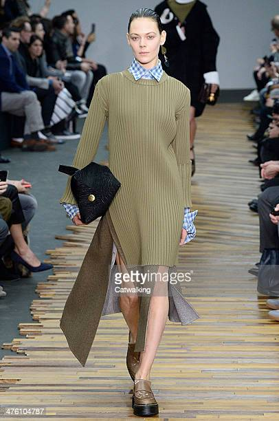 Model walks the runway at the Celine Autumn Winter 2014 fashion show during Paris Fashion Week on March 2, 2014 in Paris, France.