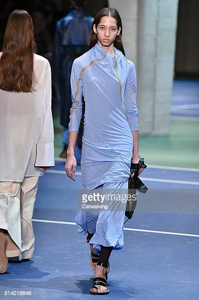 A model walks the runway at the Celine Autumn Winter 2016 fashion show during Paris Fashion Week on March 6 2016 in Paris France