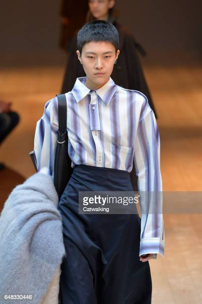 A model walks the runway at the Celine Autumn Winter 2017 fashion show during Paris Fashion Week on March 5 2017 in Paris France