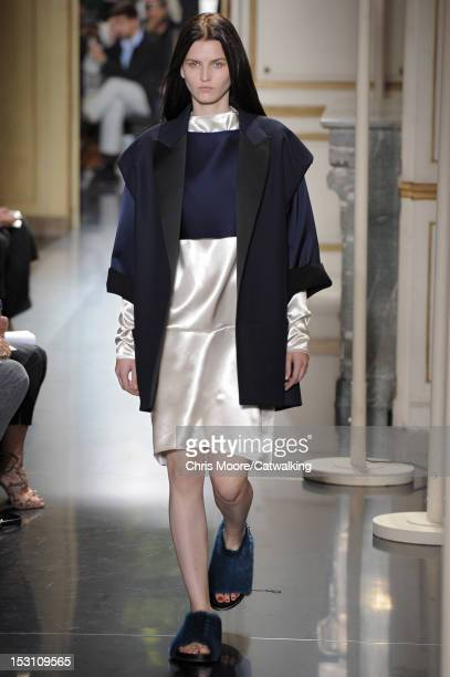 A model walks the runway at the Celine Spring Summer 2013 fashion show during Paris Fashion Week on September 30 2012 in Paris France