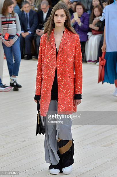A model walks the runway at the Celine Spring Summer 2017 fashion show during Paris Fashion Week on October 2 2016 in Paris France