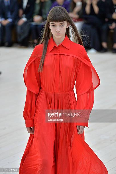 Model walks the runway at the Celine Spring Summer 2017 fashion show during Paris Fashion Week on October 2, 2016 in Paris, France.