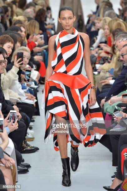 A model walks the runway at the Celine Spring Summer 2018 fashion show during Paris Fashion Week on October 1 2017 in Paris France