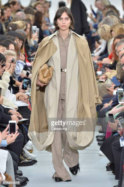 Model walks the runway at the Celine Spring Summer 2018 fashion show during Paris Fashion Week on October 1, 2017 in Paris, France.