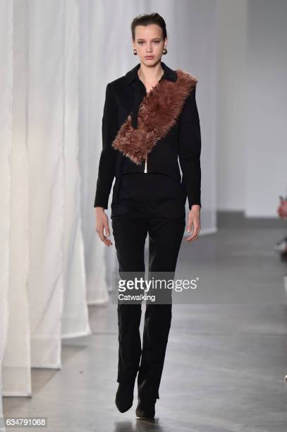 A model walks the runway at the CG by Chris Gelinas Autumn Winter 2017 fashion show during New York Fashion Week on February 11 2017 in New York...