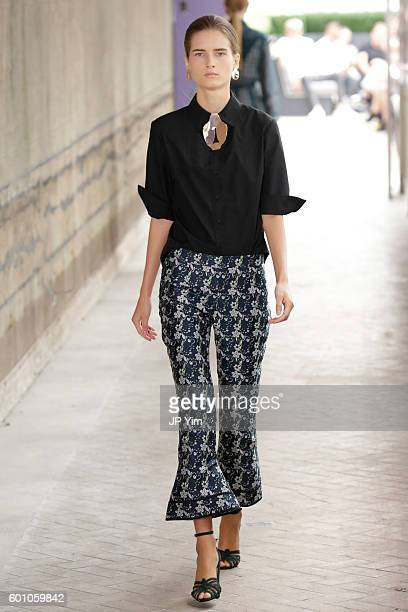 A model walks the runway at the CG fashion show during New York Fashion Week September 2016 at La Sirena on September 9 2016 in New York City