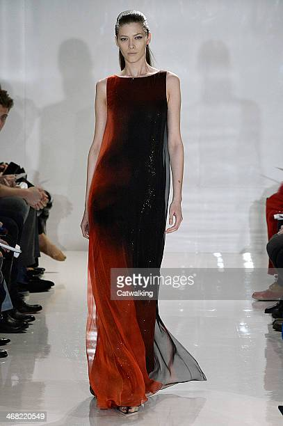 Model walks the runway at the Chado Ralph Rucci Autumn Winter 2014 fashion show during New York Fashion Week on February 9, 2014 in New York, United...