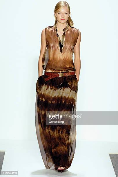 A model walks the runway at the Chaiken Spring 2007 fashion show during Olympus Fashion Week in the Atelier tent in Bryant Park September 12 2006 in...
