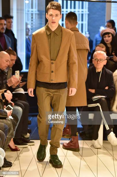 A model walks the runway at the Chalayan Autumn Winter 2018 fashion show during London Menswear Fashion Week on January 7 2018 in London United...
