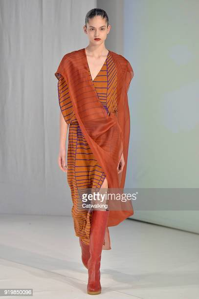 Model walks the runway at the Chalayan Autumn Winter 2018 fashion show during London Fashion Week on February 17, 2018 in London, United Kingdom.