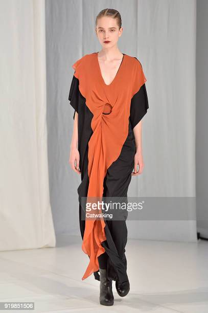A model walks the runway at the Chalayan Autumn Winter 2018 fashion show during London Fashion Week on February 17 2018 in London United Kingdom