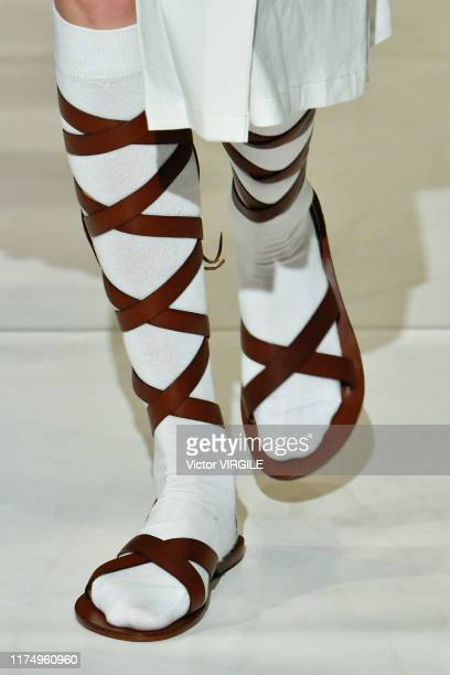 Model walks the runway at the Chalayan Ready to Wear Spring/Summer 2020 fashion show during London Fashion Week September 2019 on September 15, 2019...