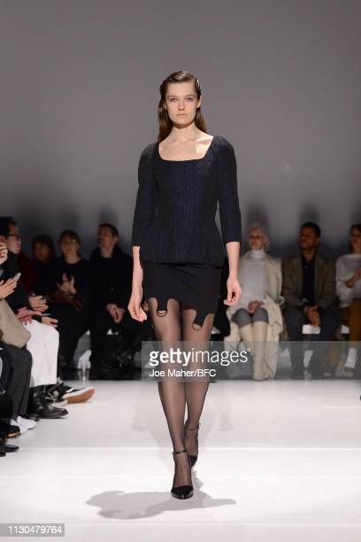 A model walks the runway at the Chalayan show during London Fashion Week February 2019 at the Sadler's Wells Theatre on February 18 2019 in London...