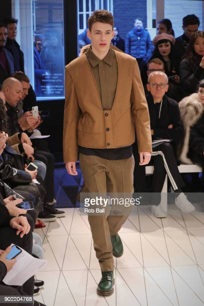 A model walks the runway at the Chalayan show during London Fashion Week Men's January 2018 at Chalayan Store on January 7 2018 in London England
