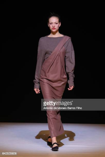 A model walks the runway at the CHALAYAN show during the London Fashion Week February 2017 collections on February 18 2017 in London England
