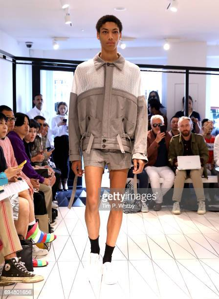 A model walks the runway at the Chalayan show during the London Fashion Week Men's June 2017 collections on June 11 2017 in London England