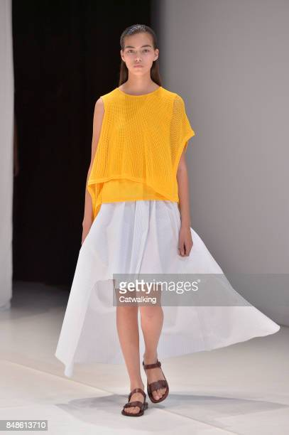 Model walks the runway at the Chalayan Spring Summer 2018 fashion show during London Fashion Week on September 17, 2017 in London, United Kingdom.