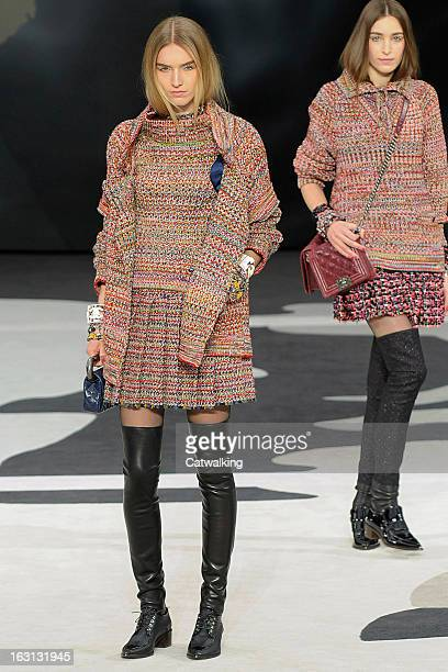 A model walks the runway at the Chanel Autumn Winter 2013 fashion show during Paris Fashion Week on March 5 2013 in Paris France