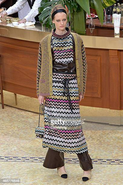 A model walks the runway at the Chanel Autumn Winter 2015 fashion show during Paris Fashion Week on March 10 2015 in Paris France