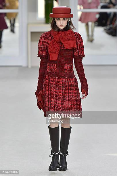 A model walks the runway at the Chanel Autumn Winter 2016 fashion show during Paris Fashion Week on March 8 2016 in Paris France