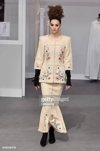 A model walks the runway at the Chanel Autumn Winter 2016 fashion show during Paris Haute Couture Fashion Week on July 5 2016 in Paris France
