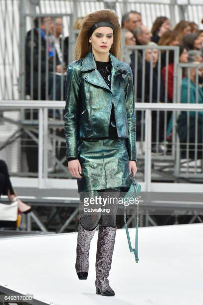 A model walks the runway at the Chanel Autumn Winter 2017 fashion show during Paris Fashion Week on March 7 2017 in Paris France
