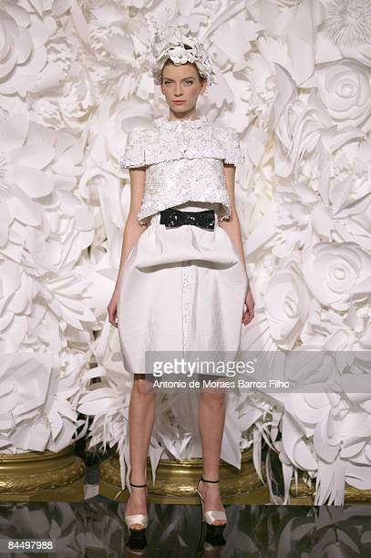 A model walks the runway at the Chanel fashion show during Paris Fashion Week Haute Couture Spring/Summer 2009 at Pavillon Cambon Capucines on...