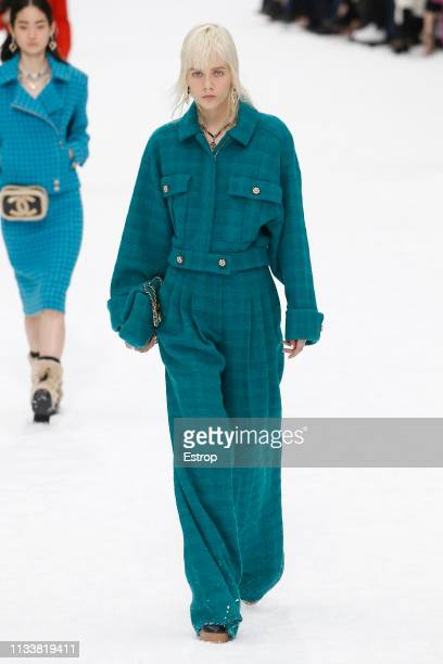 Model walks the runway at the Chanel show at Paris Fashion Week Autumn/Winter 2019/20 on March 5, 2019 in Grand Palais , Paris, France.