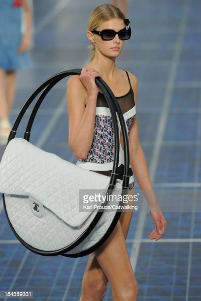 Model walks the runway at the Chanel Spring Summer 2013 fashion show during Paris Fashion Week on October 2, 2012 in Paris, France.