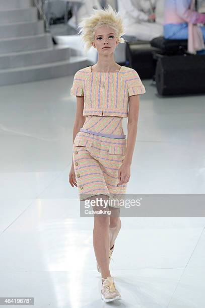 Model walks the runway at the Chanel Spring Summer 2014 fashion show during Paris Haute Couture Fashion Week on January 21, 2014 in Paris, France.