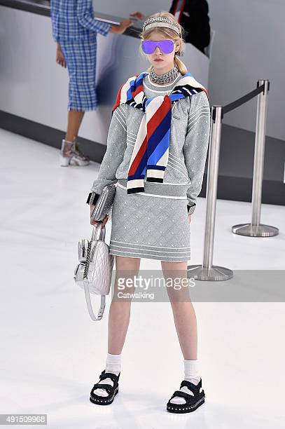 A model walks the runway at the Chanel Spring Summer 2016 fashion show during Paris Fashion Week on October 6 2015 in Paris France