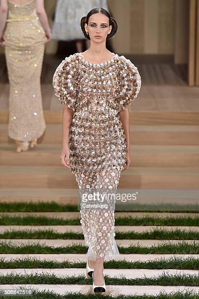 Model walks the runway at the Chanel Spring Summer 2016 fashion show during Paris Haute Couture Fashion Week on January 26, 2016 in Paris, France.