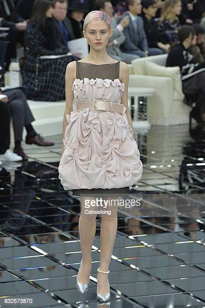 A model walks the runway at the Chanel Spring Summer 2017 fashion show during Paris Haute Couture Fashion Week on January 24 2017 in Paris France