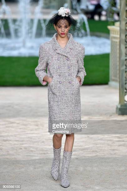 A model walks the runway at the Chanel Spring Summer 2018 fashion show during Paris Haute Couture Fashion Week on January 23 2018 in Paris France