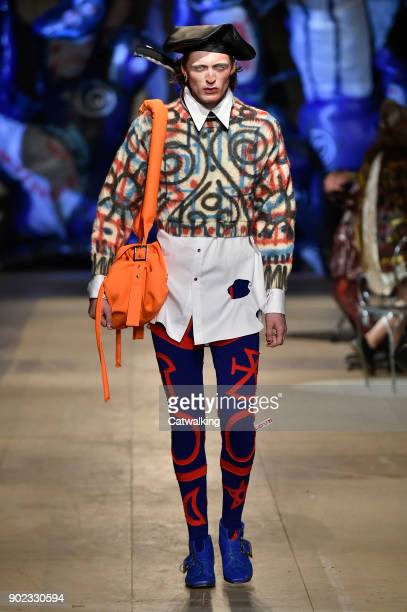 A model walks the runway at the Charles Jeffrey LOVERBOY Autumn Winter 2018 fashion show during London Menswear Fashion Week on January 7 2018 in...