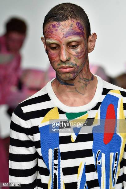 A model walks the runway at the Charles Jeffrey LOVERBOY fashion show Spring Summer 2018 fashion show during London Menswear Fashion Week on June 10...