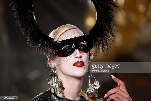 Model walks the runway at the Charles Jeffrey Loverboy show during London Fashion Week Men's January 2019 at the Wapping Hydraulic Power Station on...