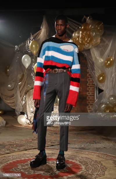 A model walks the runway at the Charles Jeffrey Loverboy show during London Fashion Week Men's January 2019 at the Wapping Hydraulic Power Station on...