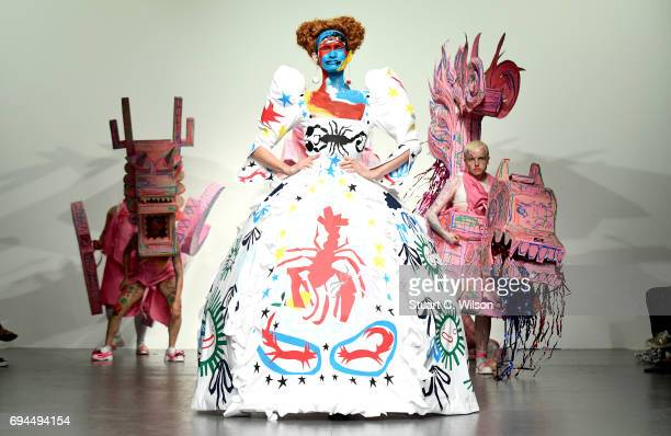 A model walks the runway at the Charles Jeffrey LOVERBOY show during the London Fashion Week Men's June 2017 collections on June 10 2017 in London...