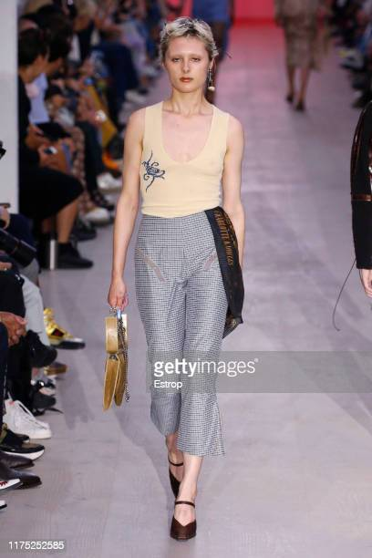A model walks the runway at the Charlotte Knowles show during London Fashion Week September 2019 at the BFC Show Space on September 17 2019 in London...