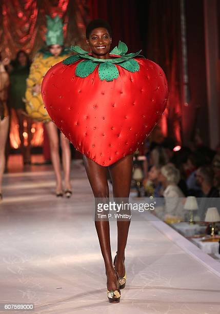 A model walks the runway at the Charlotte Olympia show during London Fashion Week Spring/Summer collections 2017 at Park Lane Hotel on September 18...