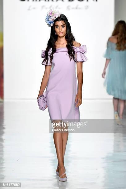 A model walks the runway at the Chiara Boni La Petite Robe fashion show during New York Fashion Week The at Gallery 3 Skylight Clarkson Sq on...