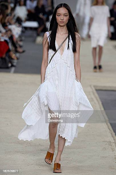 Model walks the runway at the Chloe Spring Summer 2014 fashion show during Paris Fashion Week on September 29, 2013 in Paris, France.