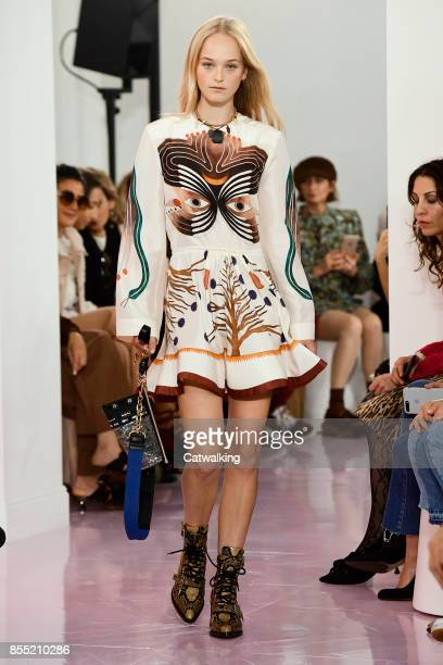 Model walks the runway at the Chloe Spring Summer 2018 fashion show during Paris Fashion Week on September 28, 2017 in Paris, France.