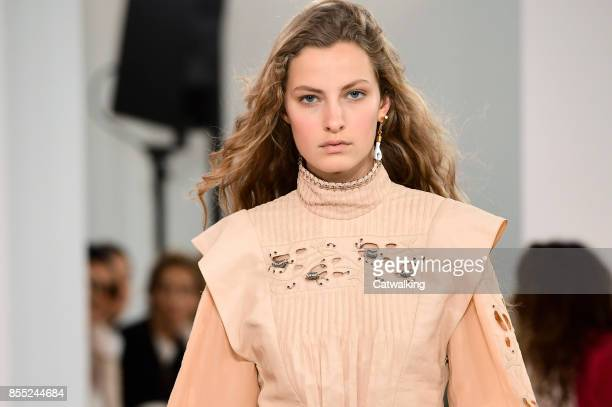 A model walks the runway at the Chloe Spring Summer 2018 fashion show during Paris Fashion Week on September 28 2017 in Paris France