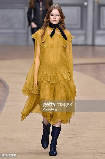 Model walks the runway at the Chloe Winter 2016 fashion show during Paris Fashion Week on March 3, 2016 in Paris, France.